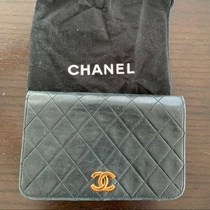 Vintage Chanel dark green single flap bag